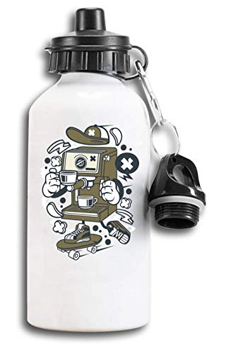 Iprints cartoon styled koffiemachine skater urban drank, tourist water fles