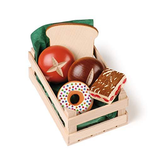Erzi 28237 Sortiment Backwaren, klein aus Holz, Kaufladenartikel für Kinder, Rollenspiele