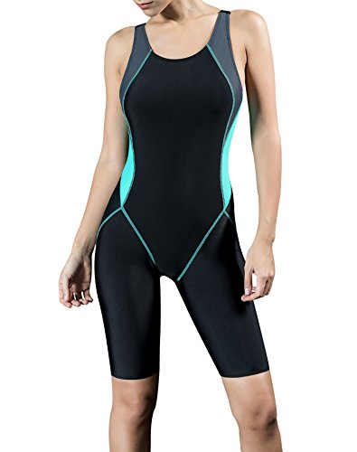 Uhnice Women's Unitard Swimwear One Piece Surfing Suit, Black/Green, 3X-Large