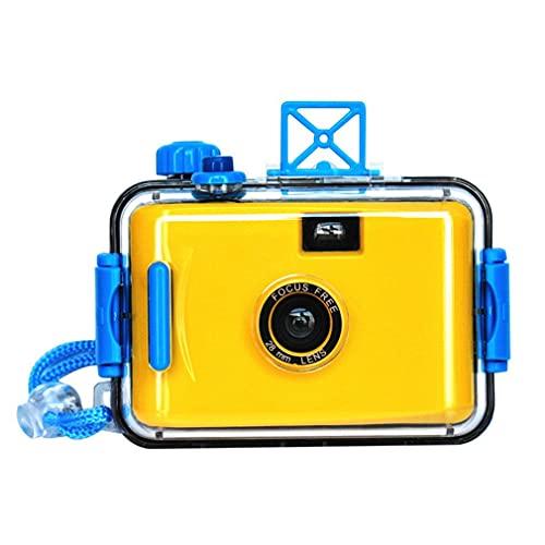 Fotocamera a Pellicola Impermeabile Fotocamera Subacquea per Immersioni subacquee Retro Doppio Pulsante Giallo Button