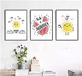 Nórdico Moderno Simple Carta de dibujos animados Limón Sandía Sin marco Dibujos animados decorativos Restaurante Lienzo Pintura Arte de la pared Cocina / 40x60cmx3 Sin marco