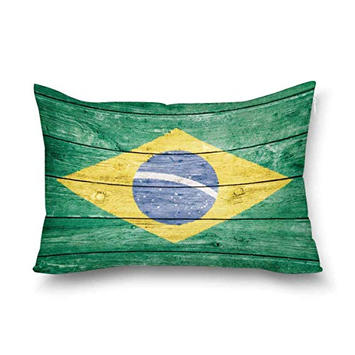 Funda de almohada decorativa de la bandera brasileña de Brasil, tamaño Queen 50 x 70 cm, rectangular con cremallera, protector de almohada para decoración del hogar