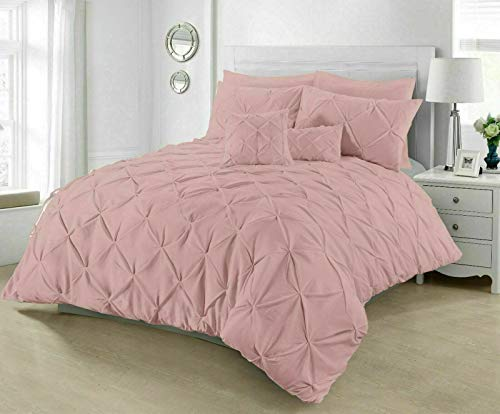 RAYYANLINEN 3PCs PINTUCK PLEATED DUVET COVER BEDDING SET WITH PILLOWCASES (Blush Pink, DOUBLE)