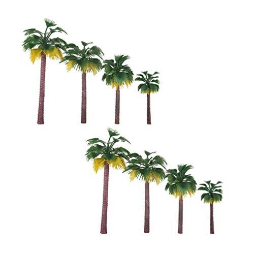 milisten Model Palmbomen Plastic Trein Palmboom Voor Mini Landschap Landschap Tropische Landschap Levert Kokospalm Voor Taart Toppers Kinderen Speelgoed Architectuur Model 8St