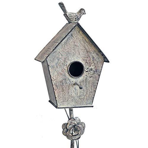 L'Héritier Du Temps Nestkastje voor vogels, op spikes of thuis, om te steken, van ijzer, gepatineerd, grijs, 10 x 16,5 x 137 cm