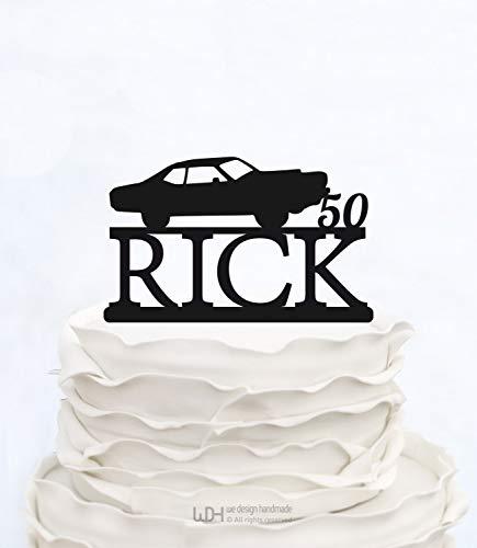 50 jaar hield van chique 50e verjaardag taart Topper verjaardag Topper elegante tachtigste taart Topper CAR taart Topper met achternaam viering