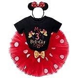 IBTOM CASTLE Conjunto de 3 piezas de ropa para bebé o niña, de manga corta, de algodón, con lunares de princesa, tutú y Minnie Mouse, diadema Globo Schwarzmy 3rd Birthday 3 Años