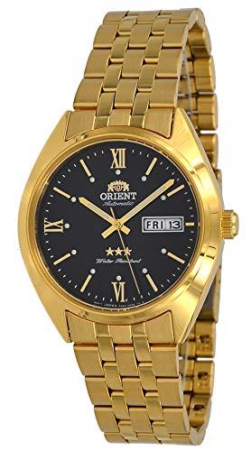 Orient RA-AB0E11B Herren-Armbanduhr, 3 Sterne, goldfarben, Edelstahl, schwarzes Zifferblatt, Tag, Datum, Automatik