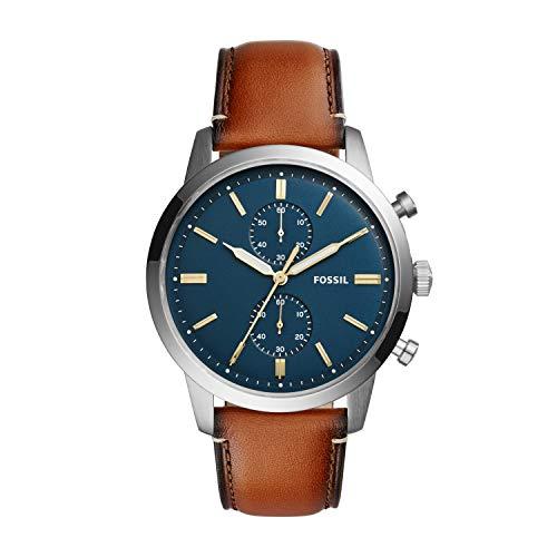 Fossil Herren Chronograph Quarz Uhr mit Leder Armband FS5279