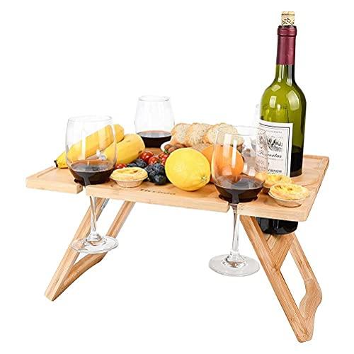 YueWan Mesa de picnic de vino al aire libre plegable portátil mesa de picnic y bandeja de queso con arreglo estable de alimentos mesa de vidrio de vino de madera para conciertos en el parque
