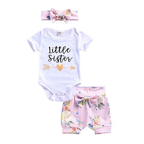 REALIKE Kinder Baby Mädchen 1 PC Jumpsuit + 1 PC Hosen + 1 PC Headbands Mode O-Ausschnitt Kurzarm -Body im Lässig Blumendruck Bogen Kurze Pants Sommer 3 Set Kleidung