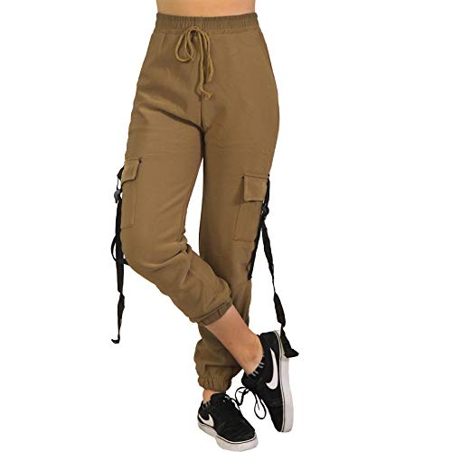 Damen Cargo Army High Waist Thermo Jogging Hose Band Trainingshose Sporthose Fitness P18738 (Braun, L-XL)