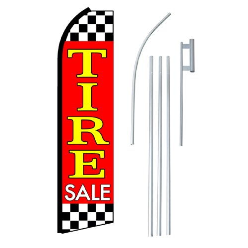 NEOPlex - 'Tire Sale' Complete Flag Kit - Includes 12' Swooper Feather Business Flag With 15-foot Anodized Aluminum Flagpole AND Ground Spike