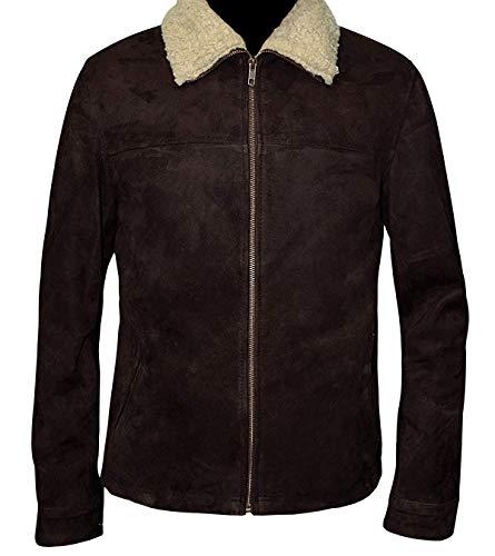 STB-Fashions Rick Grimes Walking Dead Chaqueta de piel de ante marrón y negro