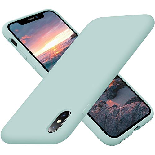 Cordking Case for iPhone X, iPhone Xs, Silicone Ultra Slim Shockproof Phone Case with [Soft Anti-Scratch Microfiber Lining], 5.8 inch, Mint Green