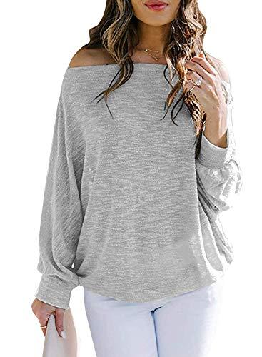 Damen T-Shirt Off Shoulder Tops Langarmshirts Damen Bluse Oberteile Kalte Schulter Basic Shirts Sweatshirt Damen Elegant Süßer Freizeit