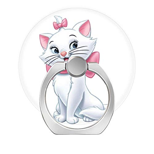 Cell Phone Ring Holder Finger Kickstand,360 Degree Rotation Stand Grip with Car Mount Compatible with All Smartphone - Aristocats Marie cat Pink White