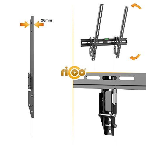 RICOO TV Wandhalterung R01-11 Flache Plasma LCD LED Wandhalter für Fernseher mit 66 – 165cm (26 – 65″) VESA / Lochabstand max. 400×400 universell passend fuer alle TV-Hersteller *** Wandabstand nur 28 mm *** Ultra Flache Ausführung *** 0/+15° neigbar *** - 3