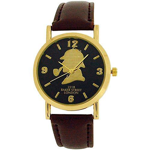 The Sherlock Holmes Baker Street Gents Black Dial Brown PU Strap Watch BAK01D