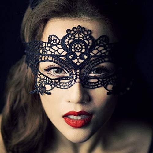 Funnyrunstore Maschera per travestimento Maschera da donna in pizzo per Halloween Festa in maschera Ballo da ballo Maschera per occhi di gatto Bianco Nero Maschere da ballo in pizzo nero