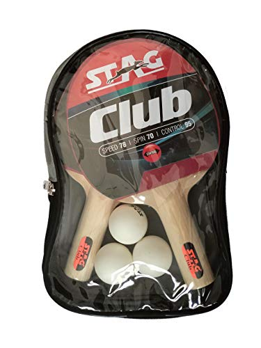 STAG Club Table Tennis Playset | 2 Racquets & 3 Balls (White), (Model: Club-Set WH)