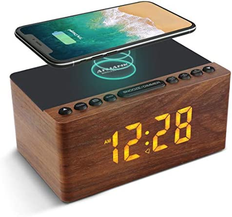 ANJANK Wooden Digital Alarm Clock FM Radio 10W Fast Wireless Charger Station for iPhone Samsung product image