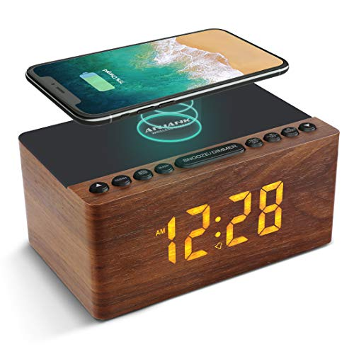 ANJANK Digitaler Radiowecker aus Holz mit Kabelloser Ladestation,10W Fast Wireless Charger for iPhone/Samsung Galaxy,LED Display mit 5-stufiger Dimmer,USB Ladeanschluss,Uhrenradio ohne Ticken