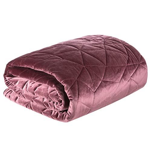 Eurofirany Bedsprei, fluweel, sprei, gewatteerd, geometrisch patroon, deken, sprei, quilt, elegant, edel glamour, slaapkamer, woonkamer, lounge, donkergroen, 220 x 240 cm