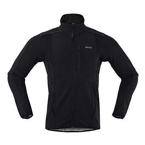 ARSUXEO Winter Warm Up Thermo-Softshell Radjacke winddicht wasserdicht Fahrrad MTB Mountainbike Kleidung 15-K S Schwarz