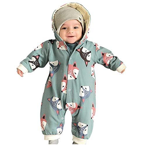 Baby Strickfleece Overall, Unisex-Jumpsuit Fuchs für Jungen und Mädchen mit langem und Kapuze Overalls Schneeanzüge Strampler Spielanzug Jumpsuit Winter Outfits Romper Coat Outwear (Grün, 0-6 M)