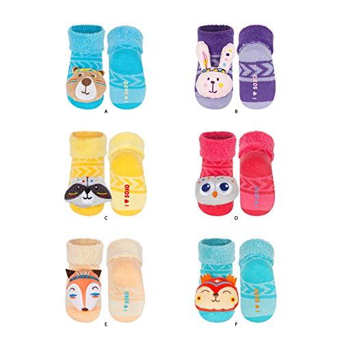soxo Baby Rasselsocken | Größe 16-18 | Antiallergisch Set für 0-12 Monate Jungen und Mädchen | 6er Pack | Baumwolle Söckchen mit schönen bunten Tiermuster | Indische Tiere