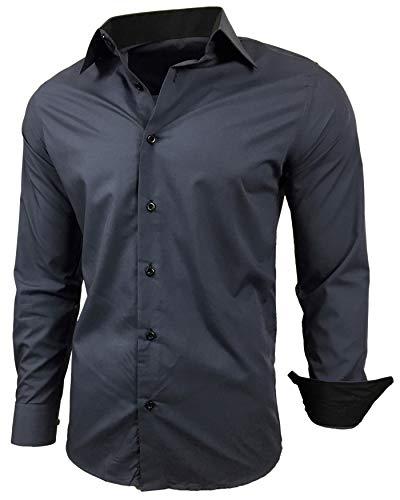 Baxboy Herren-Hemd Slim-Fit Bügelleicht Für Anzug, Business, Hochzeit, Freizeit - Langarm Hemden für Männer Langarmhemd R-44, Farbe:Anthrazit, Größe:L