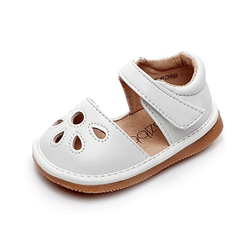 UBELLA Toddler Sandals Squeaky Shoes Flower Punch Mary Jane Toddler Girl Flats (Removable Squeakers) White