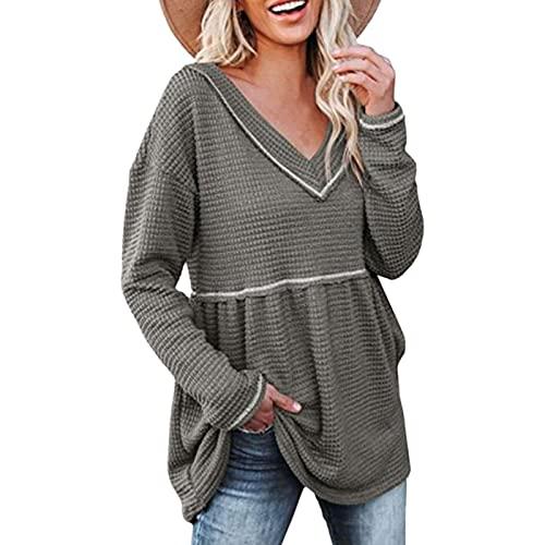 Suéter casual de manga larga con cuello en V para mujer
