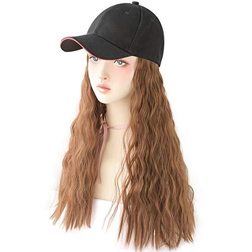 HePing Wu Chapeau de perruque un net perruque rouge maïs chaud long cheveux bouclés fashion invisible cap perruque ensemble (Color : Wool Roll - Light