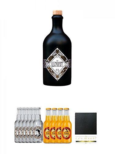 The Illusionist Dry Gin – 0,5 Liter + Thomas Henry Elderflower Tonic 6 x 0,2 Liter + Thomas Henry Mystic Mango 4 x 0,2 Liter + Schiefer Glasuntersetzer eckig ca. 9,5 cm Durchmesser