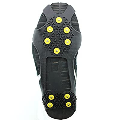 ODIER Shoe Ice Grippers Ourdoor Ice Cleats fit All Kind of Shoes Designed for Walk on Ice Snow and Freezing Mud Ground Must Have Outdoor Sports Activity Accessory (10-Teeth-B, M)