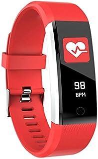 Adanse 115Plus - Pulsera inteligente para la presión arterial, impermeable, monitor de ritmo cardíaco, pulsera (roja)