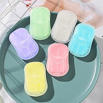 LotCow Lot de 6 mini feuilles de savon en papier jetables portables pour le lavage des mains, le bain, les toilettes, les voyages, le camping, la randonnée