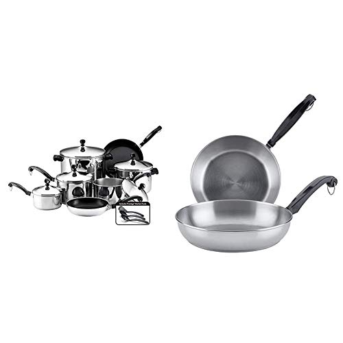 Farberware Classic Stainless Steel Cookware Pots and Pans Set, 15-Piece, Silver & Classic Stainless Steel Frying Pan Set/Fry Pan Set/Stainless Steel Skillet Set - 8.25 Inch and 10 Inch, Silver