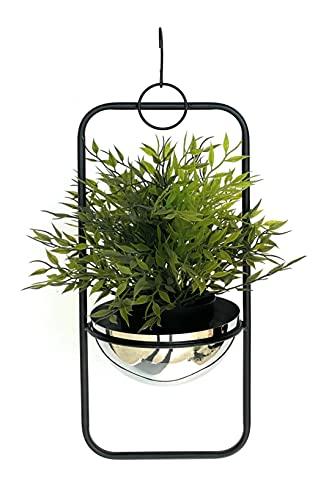 DanDiBo Macetero colgante de metal para pared, 45 cm, 96083 S, con maceta de plata, colgador para plantas,...