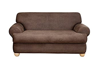 SureFit Home Decor Stretch Leather T-Cushion Loveseat Two Piece Slipcover Form Fit Polyester/Spandex Machine Washable Brown Color