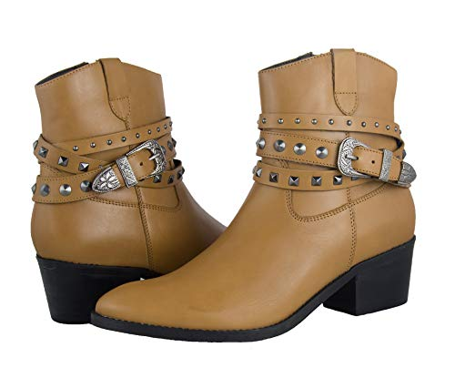 Zerimar dames enkellaarsjes Cowboy dames enkellaarsjes Dames lederen enkellaarsjes Vrouw lederen enkellaarsjes jurk Cowboylaarzen Vrouw Leer