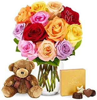 Flowers - One Dozen Rainbow Roses with Godiva & Bear (Free Vase Included)