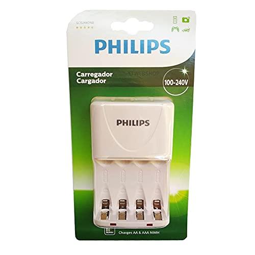 Carregador de Pilhas Philips AA AAA SCB2440NB Desligamento Automático Led Bivolt Inmetro