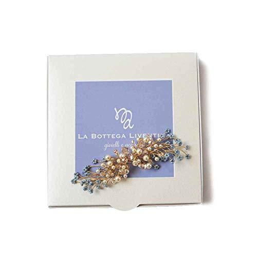 La Bottega Liventina haaraccessoires bruid met bloemen glas blauw Swarovski