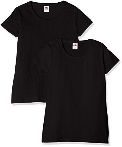 Fruit of the Loom Ladies Valueweight T Top, Nero (Black), M (Pacco da 2 Donna