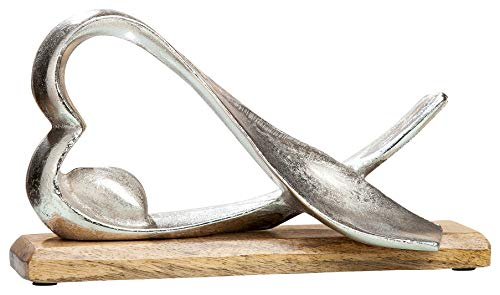 GILDE Alu Herz liegend - handgefertigt in silber auf Mangoholz H 17 cm B 30 cm