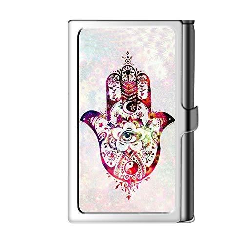 Porta tarjeta de visita con diseño astillado, caja de crédito con nombre de cartera de acero inoxidable para hombre y mujer