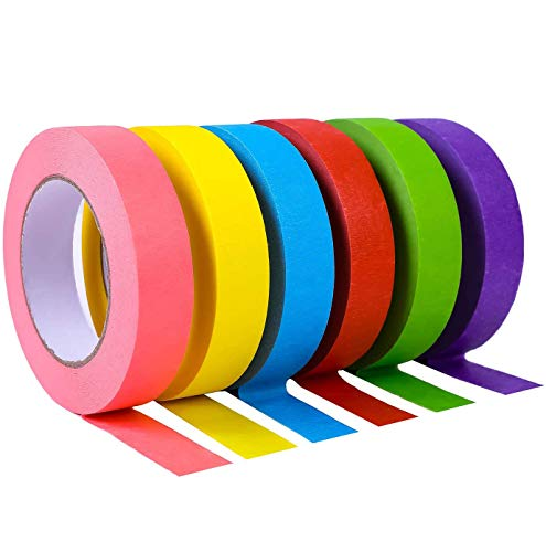 Colored Masking Tape, Colored Painters Tape for Arts & Crafts, Labeling or Coding - 6 Different Color Rolls of 1 Inch x 55 Yards JONYEE